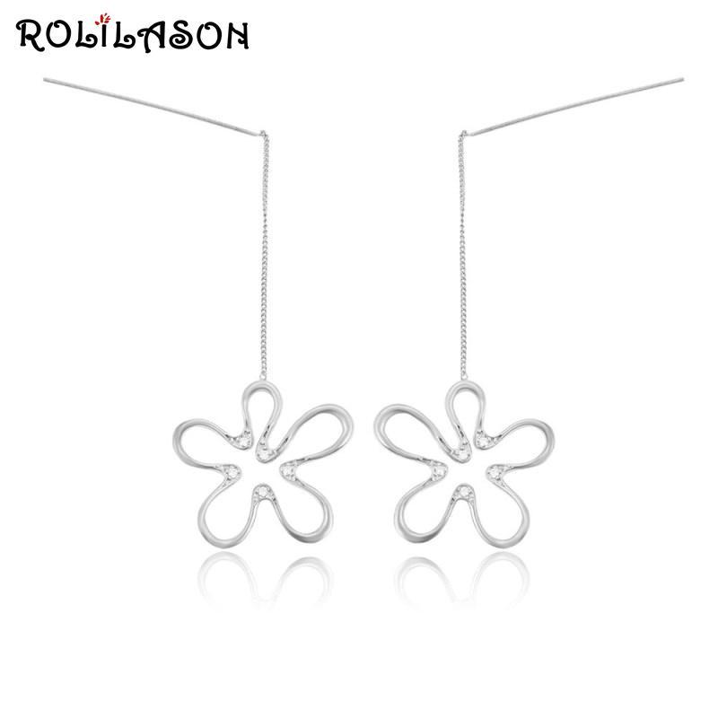 925 de prata cadeia de flores ROLILASON longos brincos empresas presentes encantadores para as mulheres JE1176 exclusivo