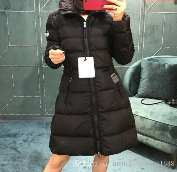 Moda M Mujeres largo invierno por la chaqueta con capucha Abrigo Parkas Negro para mujer blanco hembra delgada Coats Espesar Parka de Down