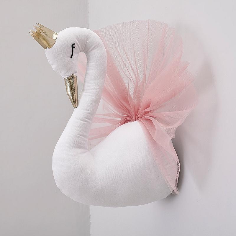 Vieeoease Bebek Oda süslemeleri Sevimli Taç Swan Duvar Asma Dekorasyon 2018 Moda Karikatür Hayvan Dantel Tasarım Çocuk Odası EE-1191 için