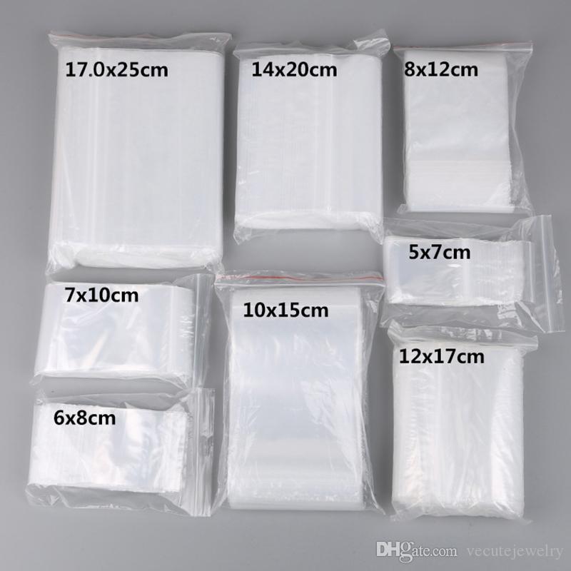 100 قطعة / الوحدة أكياس صغيرة البريدي قفل البلاستيك reclosable مجوهرات شفافة / الغذاء حقيبة تخزين المطبخ حزمة حقيبة حقيبة واضحة zeblock سعر الجملة