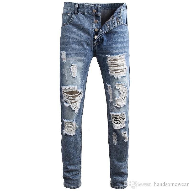 Yırtık Streetwear Hip Hop Skinny Demin Pantolon takılması Erkekler Casual Açık Mavi Delik Jeans Moda İnce 29- 42 Boyutları