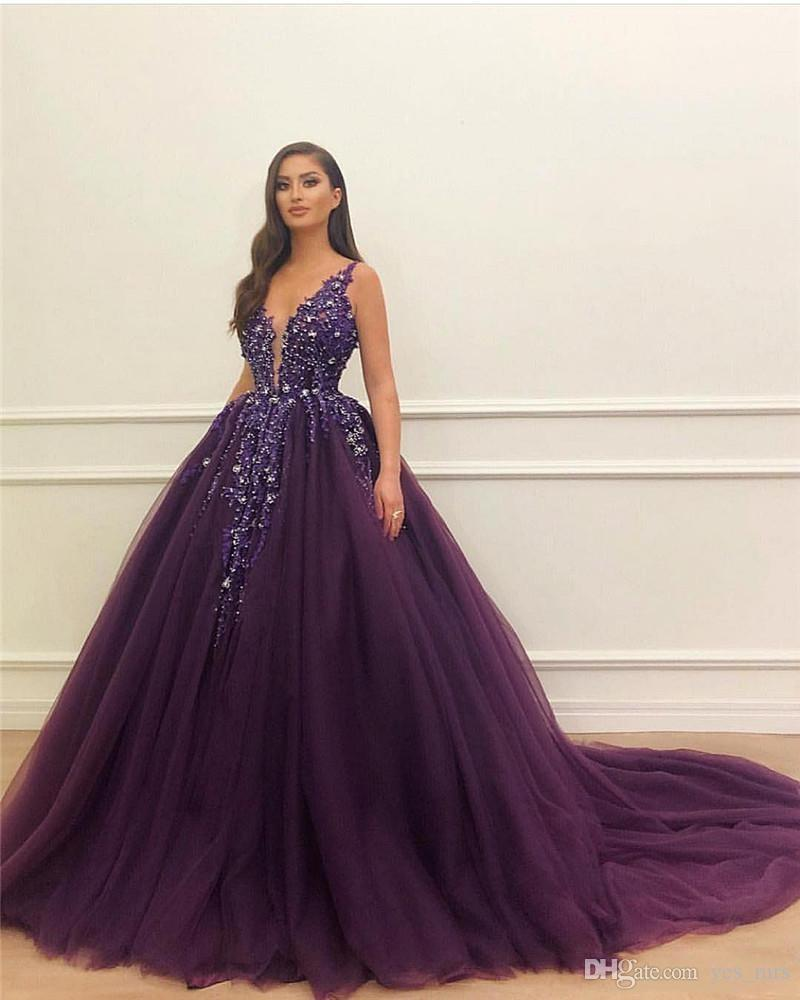 New Dark Purple Ball Gown Quinceanera Dresses V Neck Tulle Lace Crystal Sleeveless Backless Floor Length Sweet 16 Party Prom Evening Gowns Turquoise Quinceanera Dresses 2015 Dresses From Yes Mrs 137 98 Dhgate Com