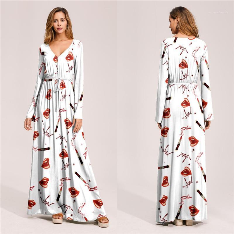 Elbise Flora Baskılı Kadın Bohemian Elbiseler Tasarımcı Bölünmüş Yaz Plaj Uzun Elbise Uzun Kollu Bayan Tatil