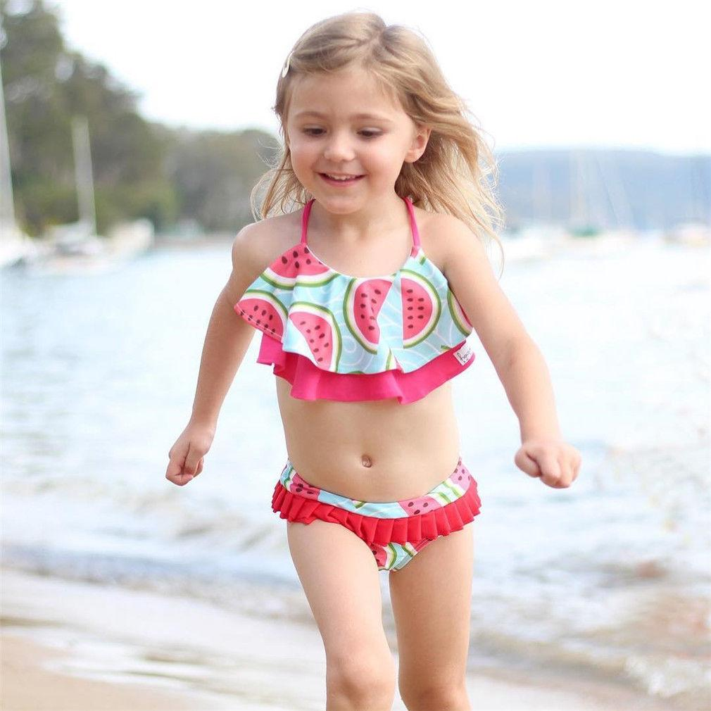 Kids Girls 2Pcs Swimwear Swimsuit Tankini Set Top+Bottoms Bathing Suit Beachwear