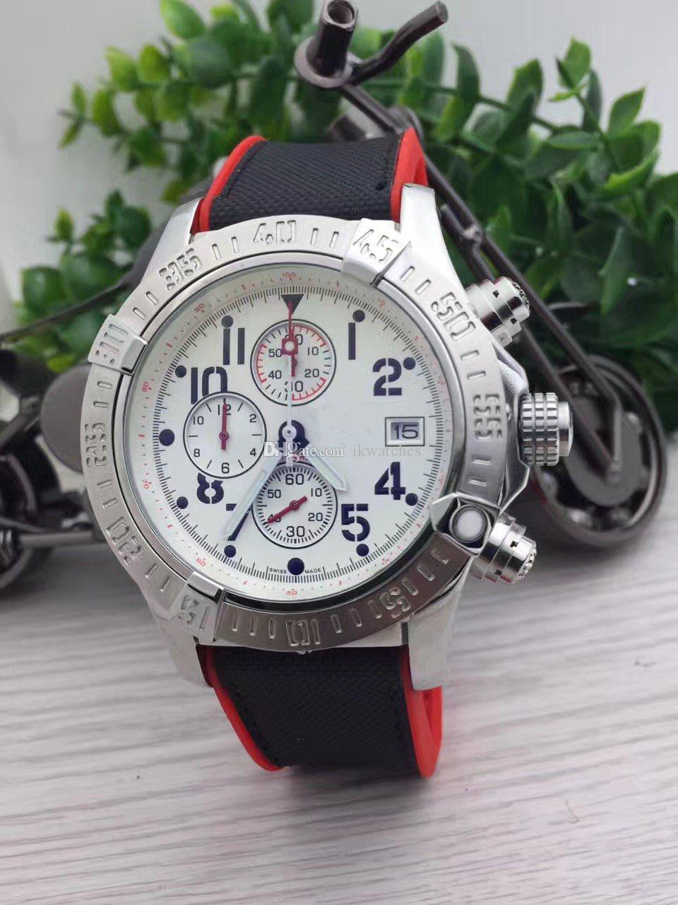 뜨거운 판매 높은 quaity 남자 시계 스틸 시계 석영 스톱워치 남성 시계 스테인리스 시계 크로노 그래프 손목 시계 (241)