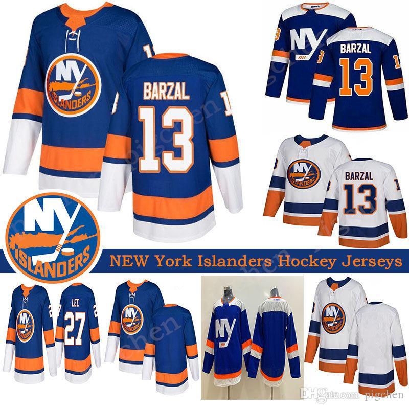 2019 New York Islanders Alternate Terceiro Azul 13 Mathew Barzal Jersey 27 Anders Lee Denis Potvin Hockey Branco costurado Homens