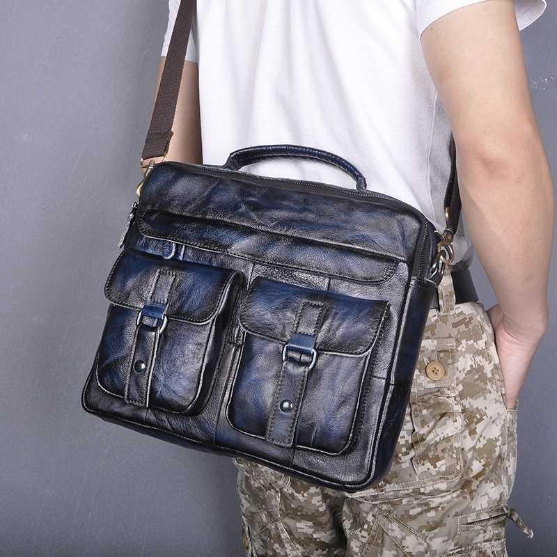 """Le'aokuu Real 13 """"B207 Pasta Mensageiro Estilo Blue Leather Bags Qualidade Capas Laptop Acessão Antique Business Portfolio Homens Injkg"""