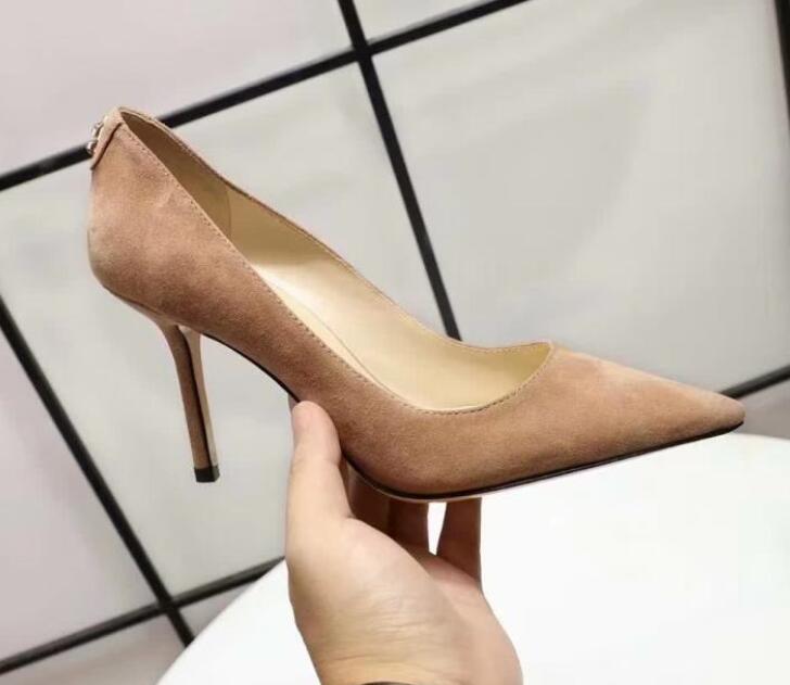 Seksi Moda JC Kadın Yüksek topuk 9CM Paris Gelinlik Gerçek Deri Bayan Ayakkabı Slip On Sivri Toes pompaları SZ35-40