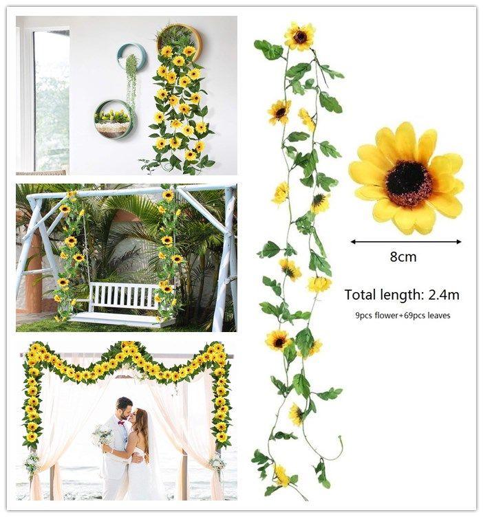 인공 해바라기 포도 나무에 매달려 실크 가짜 꽃과 녹색 잎 꼬마 전구 홈 정원 벽 녹지 커버 웨딩 파티 테이블 장식