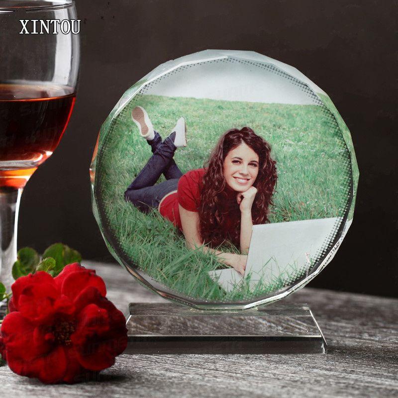 XINTOU ronde en verre cristal cadre photo de mariage personnalisé Souvenir de vacances Accueil Cadres Deceor accessoires avec boîte-cadeau