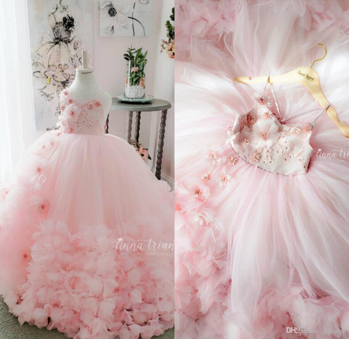 La flor rosada linda chica de correas espaguetis encaje en 3D de flores apliques de perlas niñas desfile vestido de bola Vestidos cumpleaños de los niños