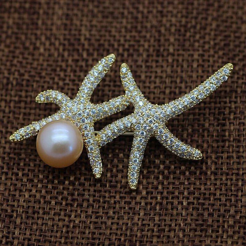 ASHIQI Natural Freshwater pearl brooch for women large rhinestone brooch Pin Romantic Wedding Bride Bridesmaid Jewelry