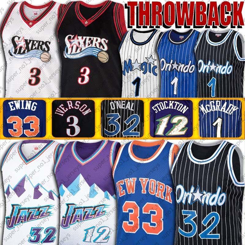 Vintage Allen Iverson Shaquille ONeal Jersey Tracy Penny Mcgrady Hardaway Jerseys Patrick Ewing John Karl Stockton Malone Basketball Jersey