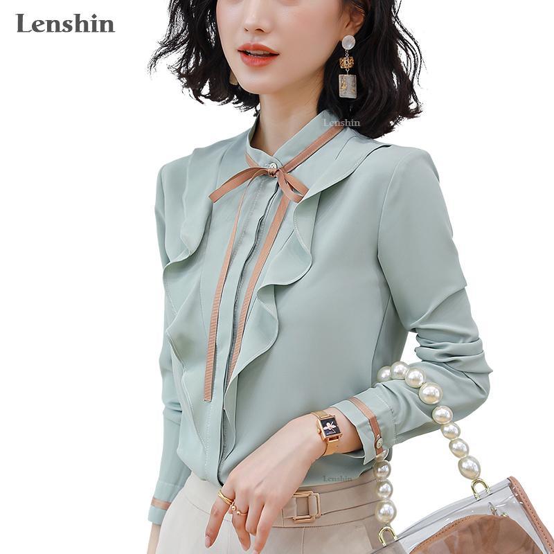 Lenshin weich und bequem Langarm-Shirt Hochwertige Bluse mit Krawatte Büro-Dame Arbeitskleidung Formale Green Top für Frauen T200321