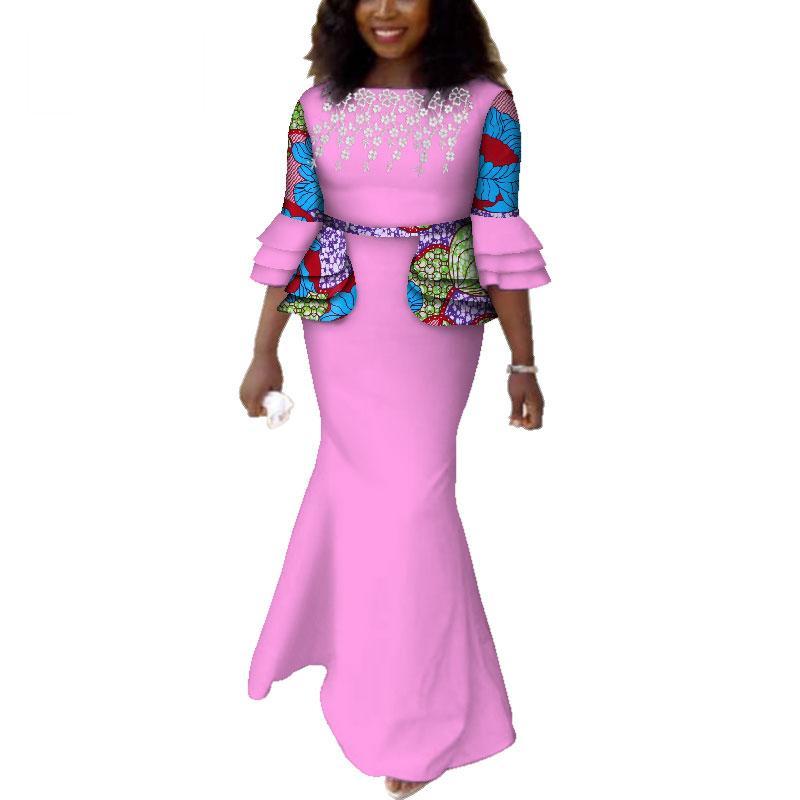 Африканские платья для женщин Африканские длинные платья с принтом Dashiki Dress Bazin Riche Максимальный размер платья партии Vestido для леди WY3993