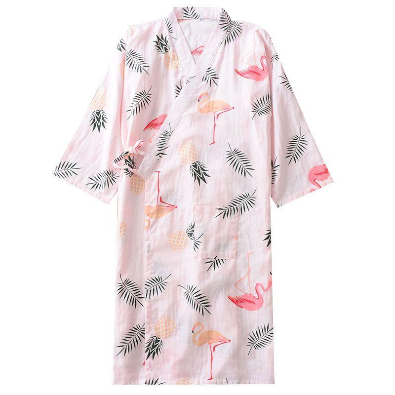 Bride Bridesmaid Wedding Gown Sexy Women Print Sleepwear Cotton Nightgown Japan Kimono Bathrobe Robes Dress Loose Home Wear