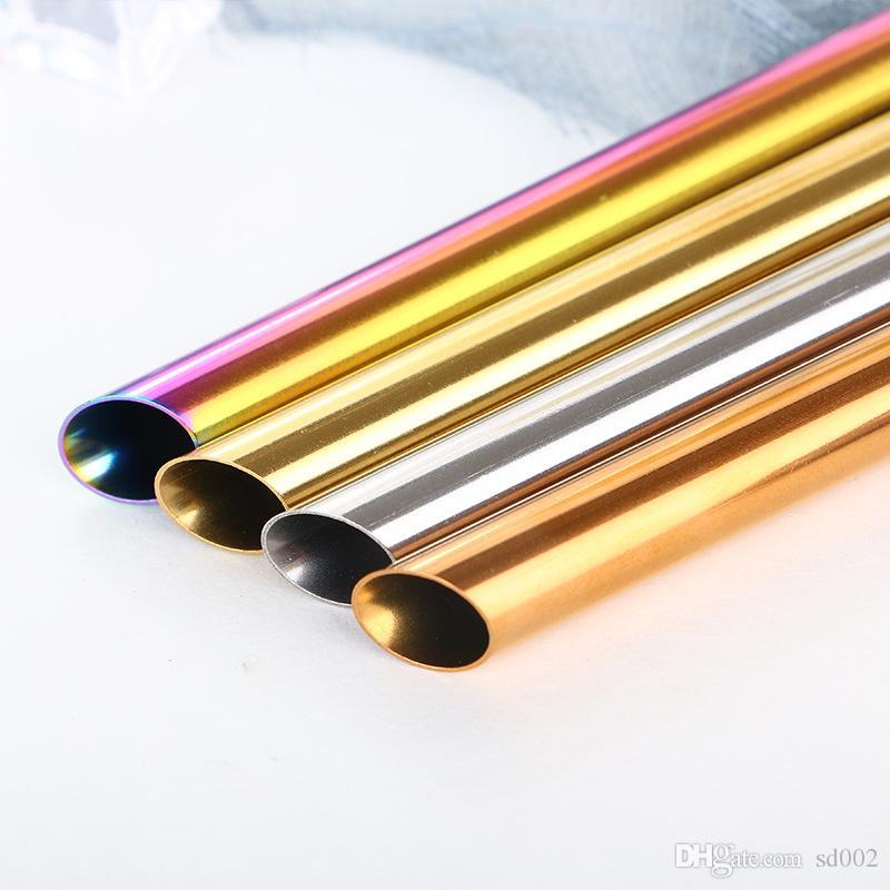 الفولاذ المقاوم للصدأ الملونة القش المعدنية الإبداعية المعمرة مشطوف جولة الفم الحليب الشاي tubularis جديد جودة عالية 2 8cp ww