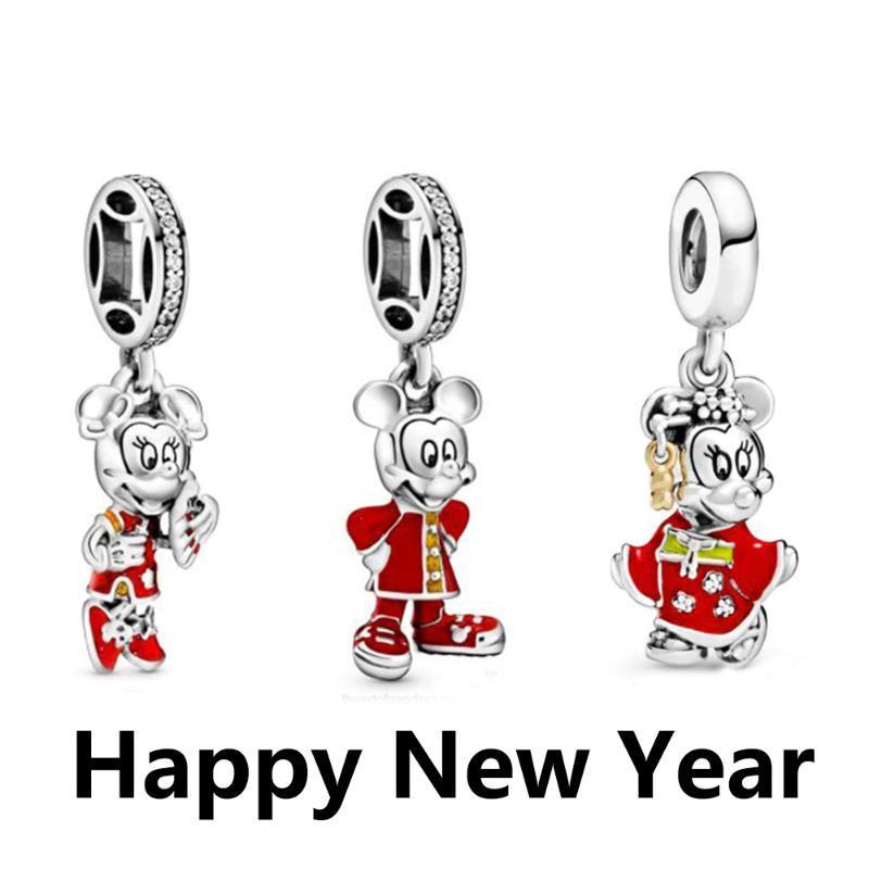 YENİ% 100 925 Gümüş Sevgililer Günü Çin Yeni Yılı 2020 Koleksiyonu kolye Fit Diy Orijinal Bilezik Takı Hediye