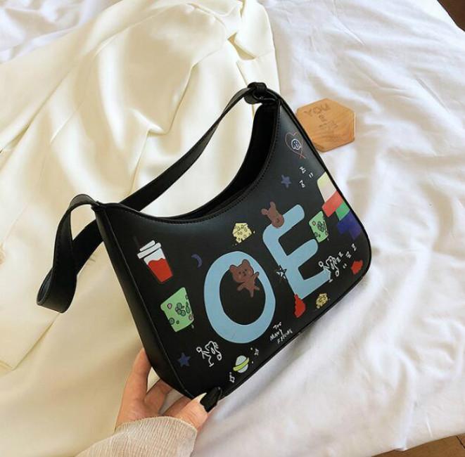 Мода девушка Сумка Багет Crossbody конфета сумка Кошельки Женщина граффити Личности сумка плечо Письмо