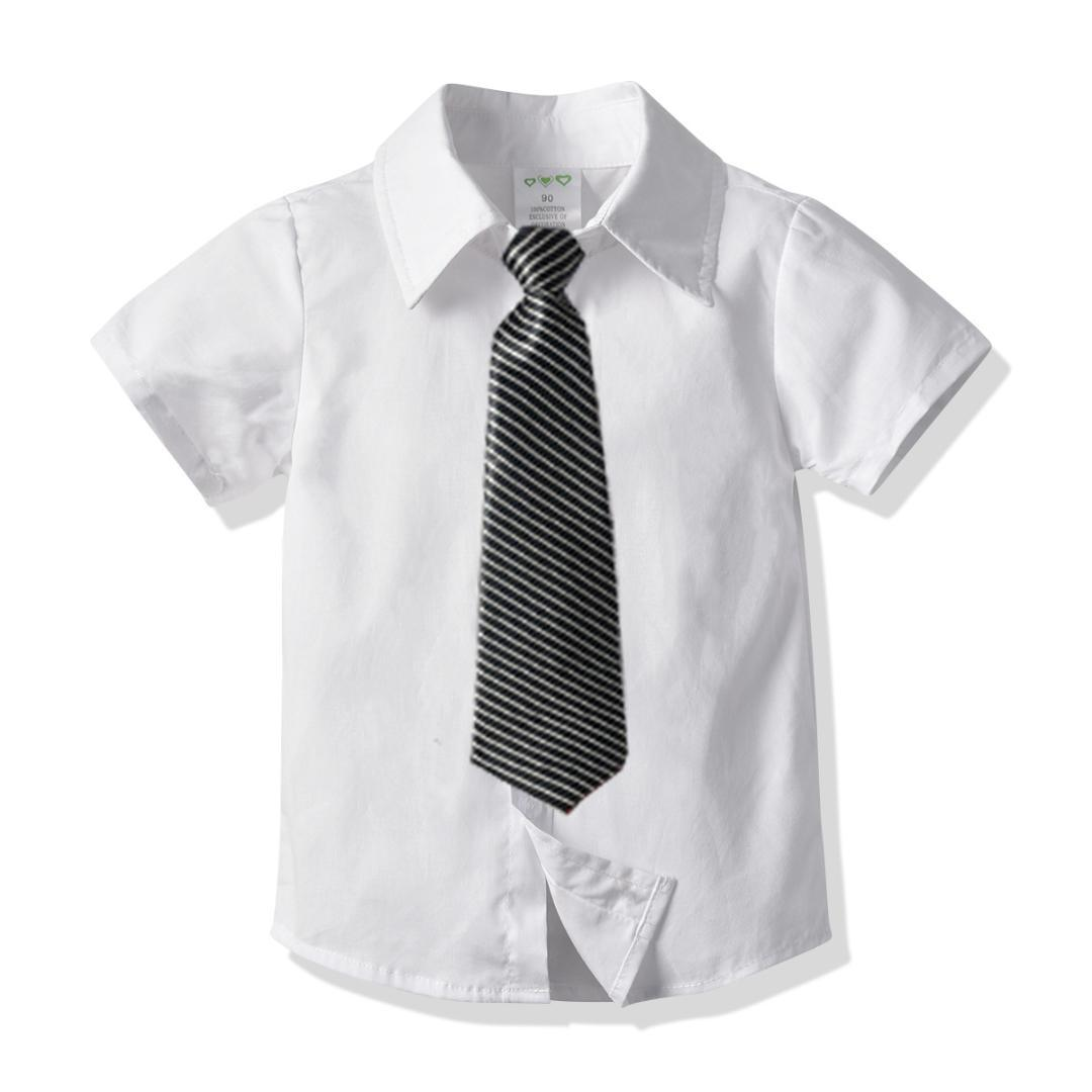 Baby Boy shirts children clothing boys summer Blouses solid white color short-sleeved shirt for 5T 6T