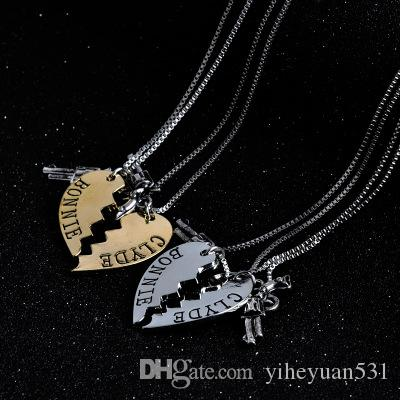 Thelma and Louise Necklace Silver Gold Broken Heart Gun Pendant Chains for Women Best Friends Best Bitch Fashion jewelry DROP SHIP 161761