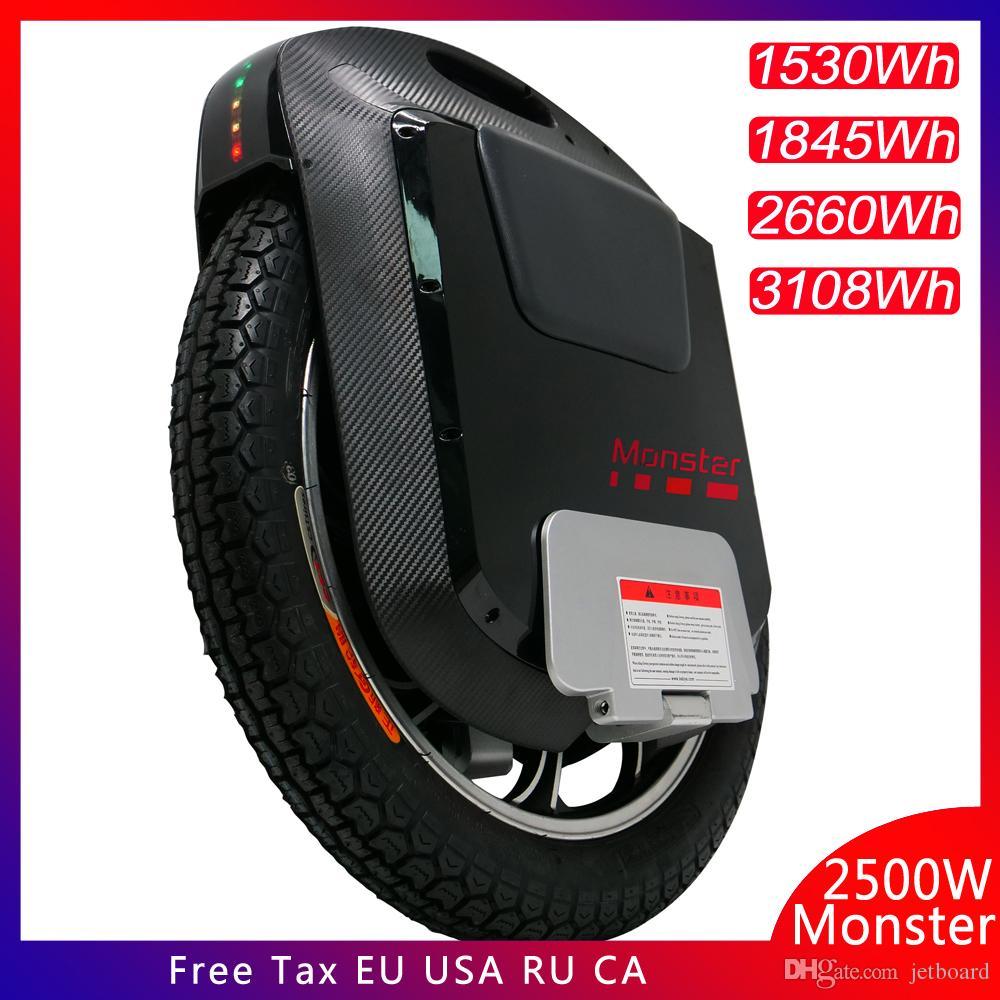 22 인치 전기 외발 자전거 100V 1845WH / 3108WH 2500W 모터 카본 블랙 블루투스 스피커 21700 배터리 셀 슈퍼 보드 2019 Gotway 몬스터 V3