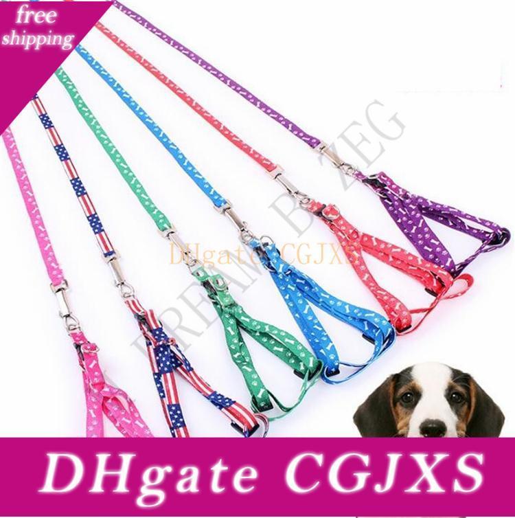 10 colores collares de perro para mascotas correos del arnés de nylon ajustable Impreso para mascotas collar de perro de perrito del gato Animales para Mascotas collar de la cuerda del lazo de cuello