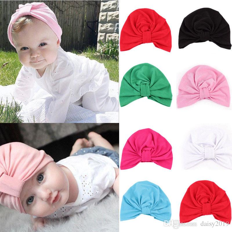 Cute Newborn Toddler Little Girl Bowknot Fetal Cap Solid Elastic Knotted Bow Hat