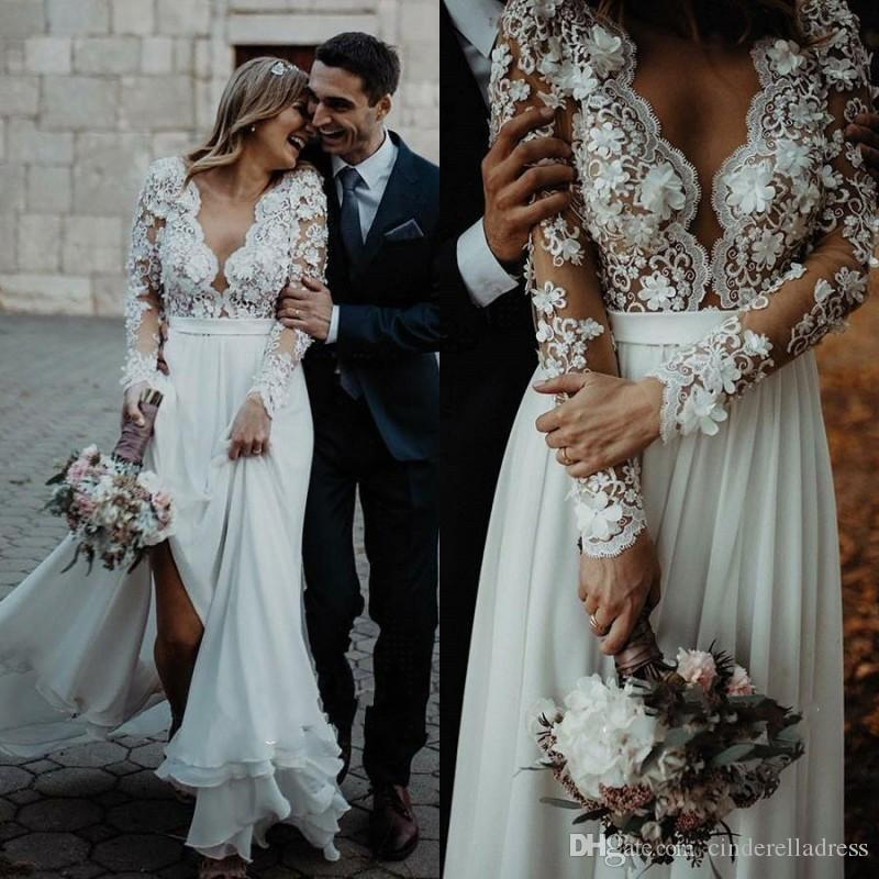 2020 Sexy Country Style Wedding Dresses Lace Applique V Neck Long Sleeves Bridal Gowns Court Train Boho Bohemain Wedding Dress BC3657
