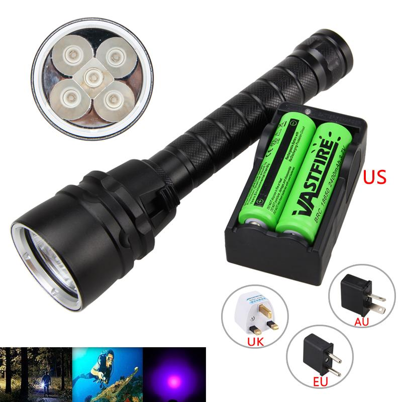 Underwater 100M 5X XPE UV Light 395nm LED Scuba Diving Torch with Rechargeable 18650 Battery +Charger