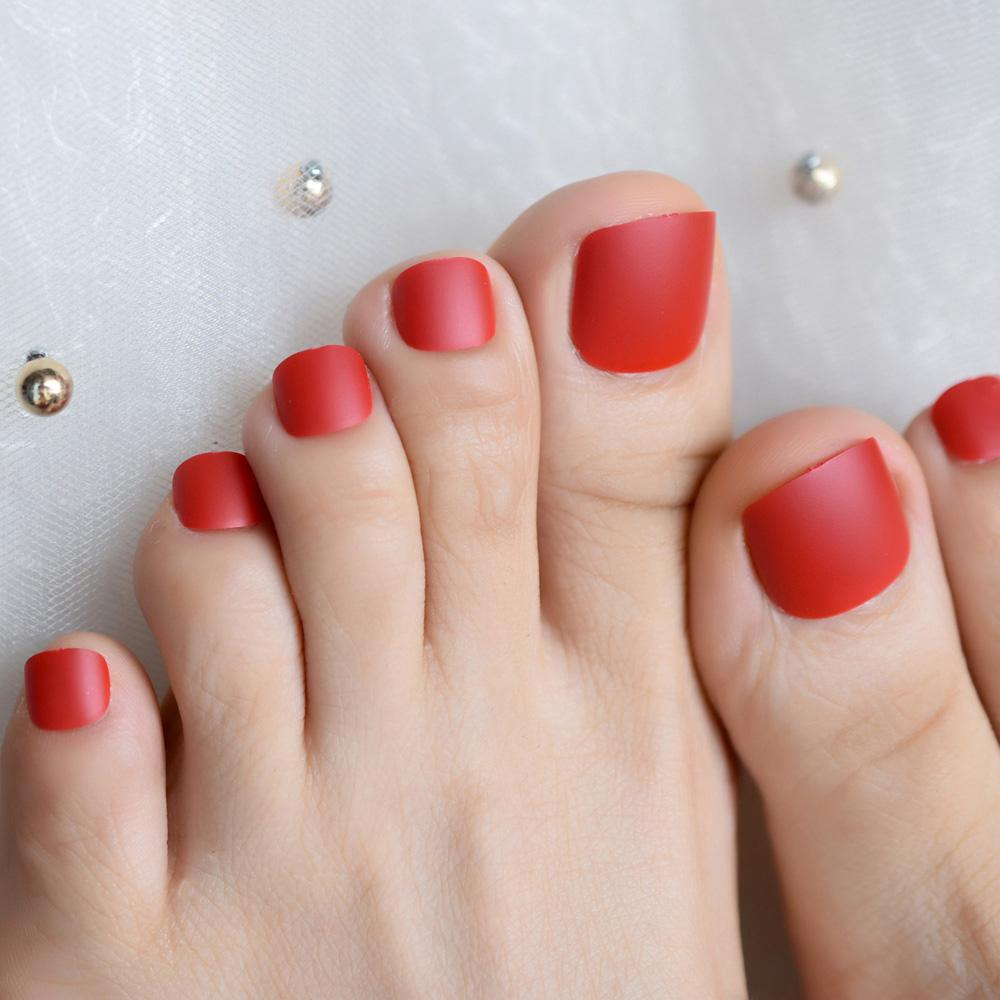 Matte Sexy Red Fake False Toenails Frosted Press on Full Cover Toe Nails Tips Sticker Foot Deco Summer Wear Nail Tip