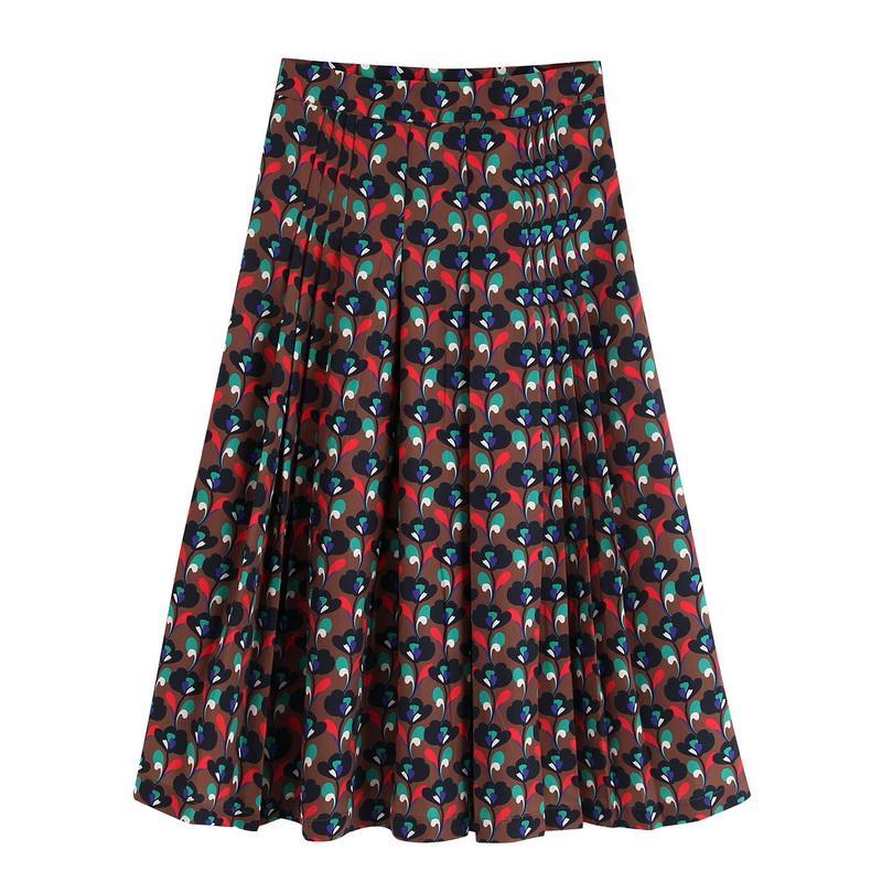 Las mujeres falda plisada Otoño 2019 floral de la vendimia Nueva señora estampados modernos largo Faldas Bottom