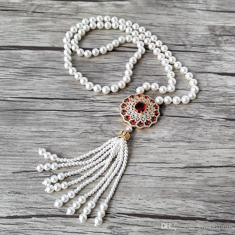 Novo design Red Zircon charme jóias CZ Micro pave Rodada Pendant, naturais pérola shell contas borla Mulheres Colar NK531
