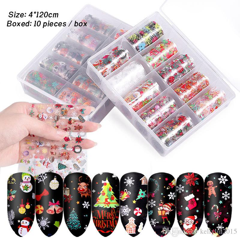 Nail Art Stickers Decals Set For Christmas Halloween Transfer Paper Nail art Decorations Tips Manicure Tools 4cm 10pcs /box