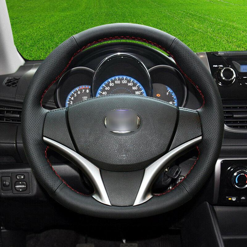 black leather red stitch custom car steering wheel cover for Toyota Vios YARis L