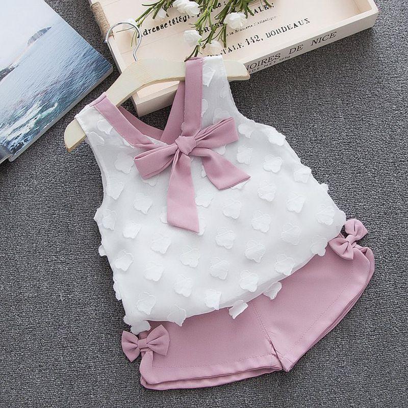 Neonata Abbigliamento 2019 Estate New Girls Abbigliamento Abbigliamento Set Bambini Vestiti Baby Bay Vestiti Bambino Girl Cappotto + Pantaloni 1-4Y