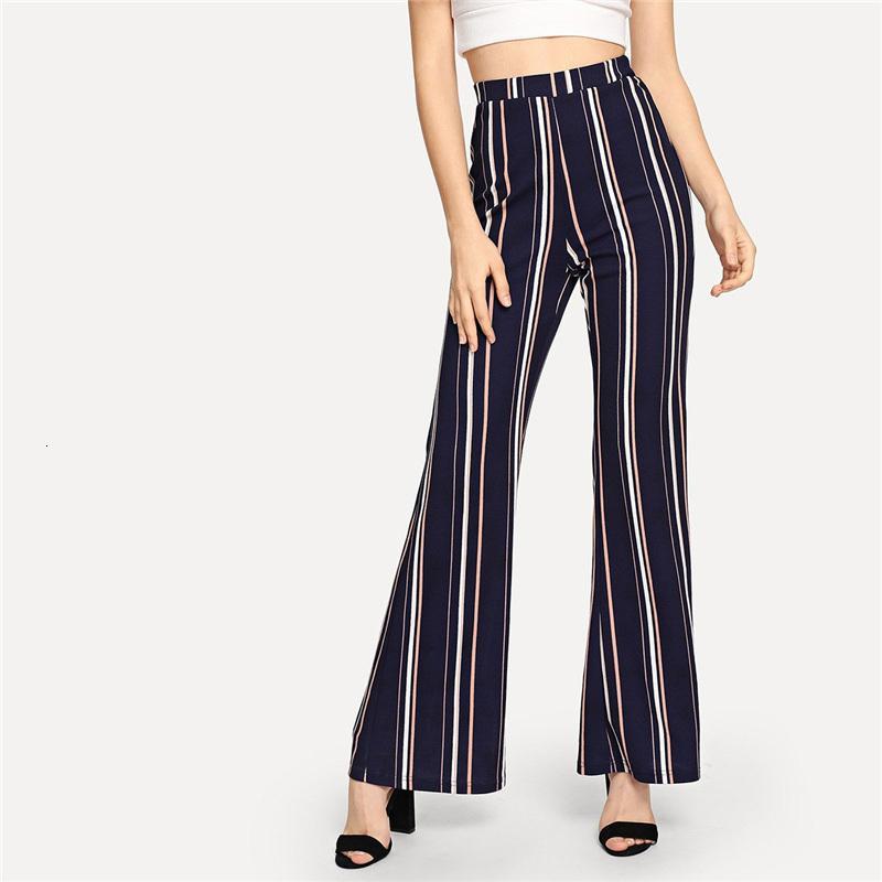 Designer Sweatpants femme Pantalons bureau Navy Lady Highstreet rayé taille élastique jambe Pantalon élégant Nouveau automne Pantalons femme Workwear