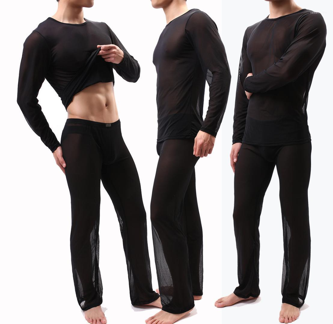 Pijamas Mens Início Dois Pants Pedaço Sexy Mens Perspectiva Pajama Set Pijamas sólida e confortável em torno do pescoço ver embora