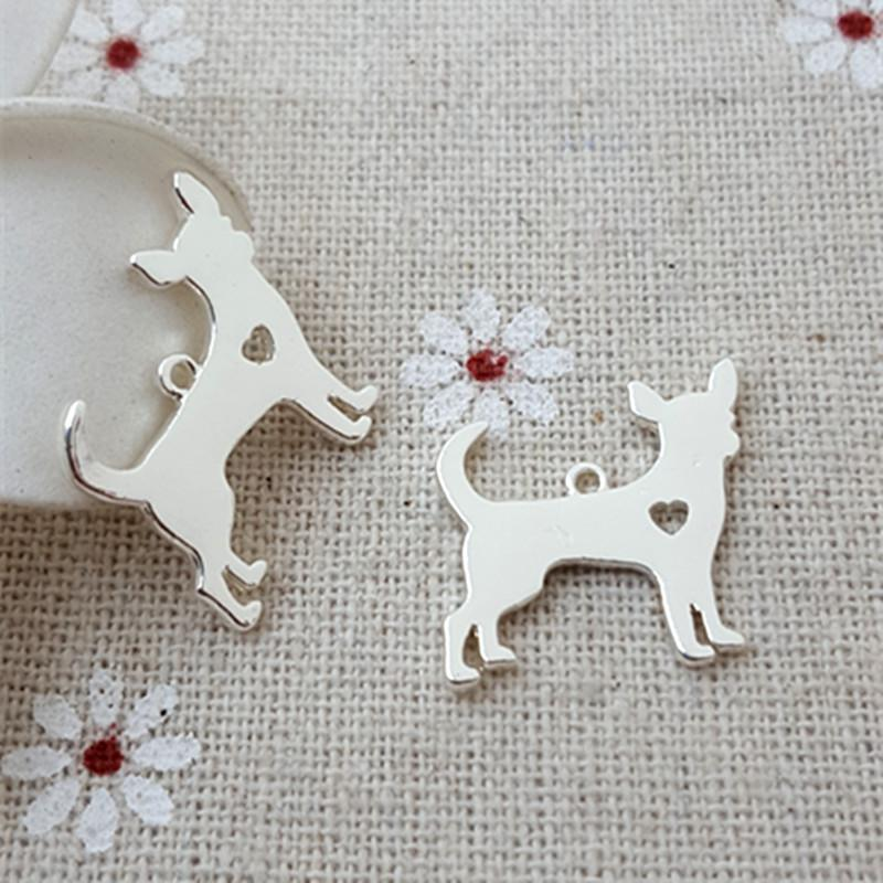High Quality 10 Pieces/Lot 18mm*19mm Silver Plated Dog Charm Polished Cute Chihuahua Charms For Jewelry Making