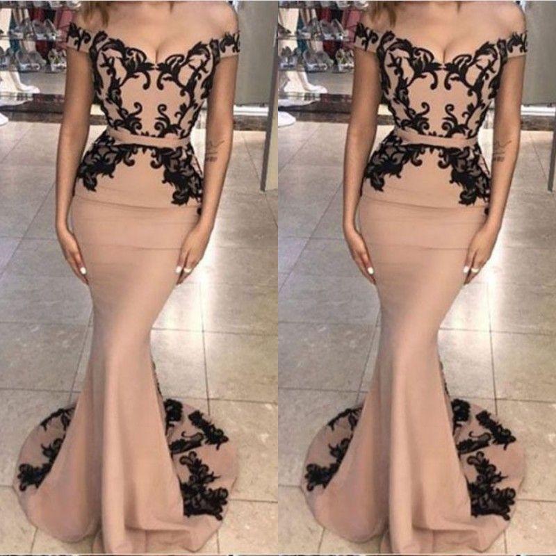2019 우아한 이브닝 드레스 아랍어 블랙 레이스 자수 장식 된 인어 정장 드레스 오프 어깨 띠와 댄스 파티 드레스 롱 드레스