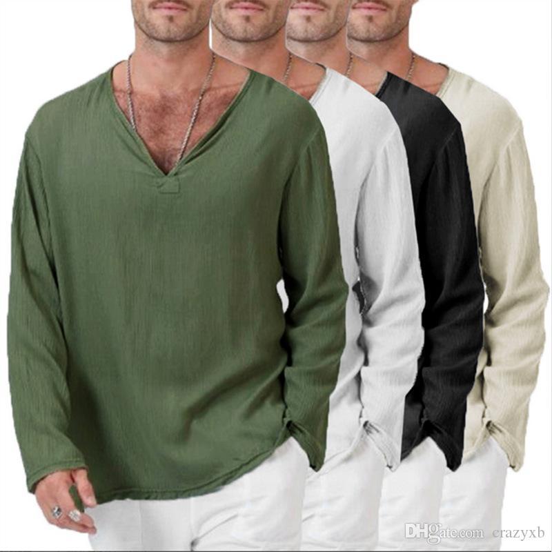 Erkek Baghee Casual Tişörtlü Pamuk Keten Tee hippi Gömlek Uzun Kollu Yoga En Erkekler Uzun Kollu Tişört İnce V Yaka Tişört Tops