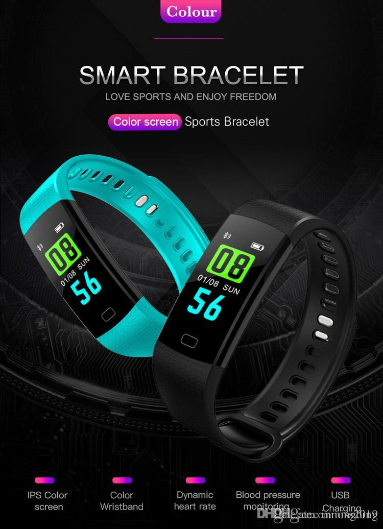 Y5 Smart Bracelet Heart Rate with Fitness Tracker Step Counter Activity Monitor Band Blood Pressure Monitor Waterproof Watch for iPhone