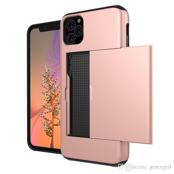 For Iphone 11 Pro Max 2019 Samsung Galaxy NOTE10 Pro ID Cards Slot Box Hybrid Armor Case TPU PC Hard ShockProof Phone Skin Cover 60pcs