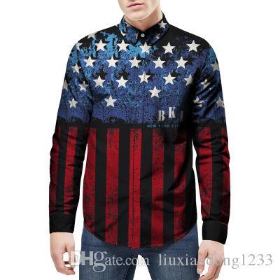 Die neuen modischen Männer Sommer Sternen und Streifen gedruckt Hemd lose beiläufige Persönlichkeit Männer Langarm-Shirt heißen Verkauf