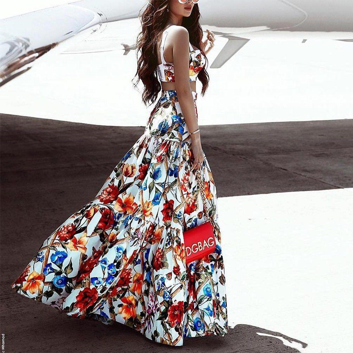 Fashion-женщины платье без рукавов 2Pcs наборов Ruffled Western Style Sexy отдых юбка пляж Flora Печатных платьев
