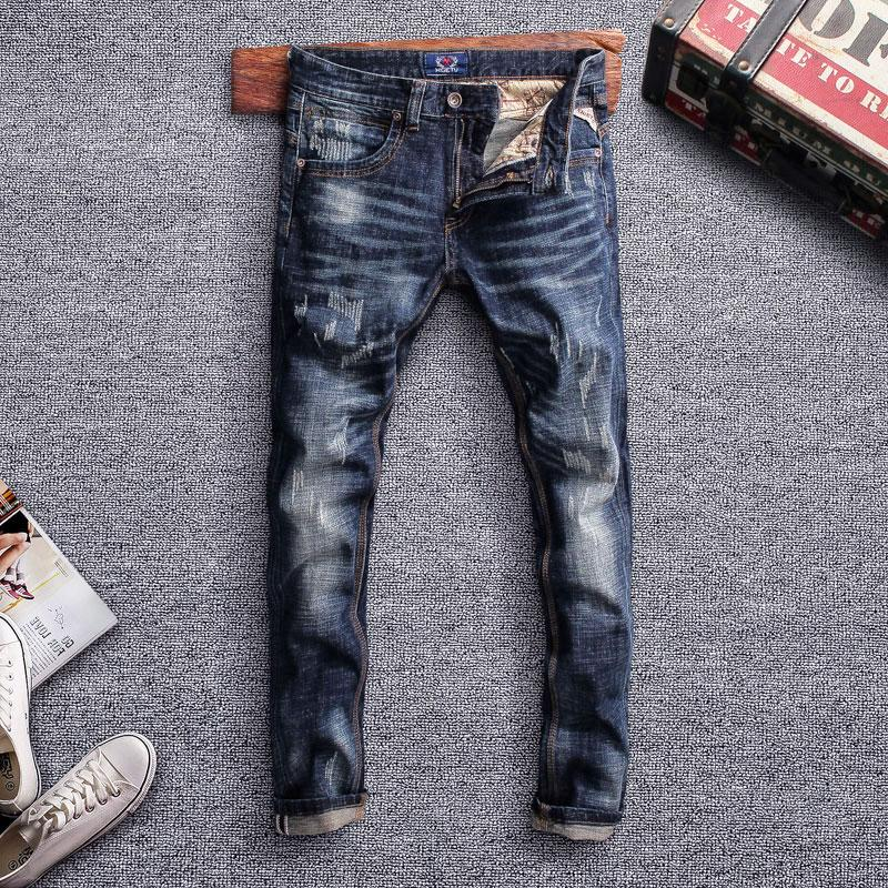 Compre Estilo Italiano Moda Hombre Jeans Vintage Retro Negro Elastico Azul Slim Fit Jeans Rotos Hombres Pantalones Anchos Disenador De Hip Hop A 34 12 Del Pattern68 Dhgate Com