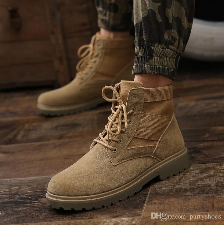 Winter Herren Boots PU Outdoor-Schnee Ankle Boots Male Lace Up Anti-Rutsch-Booties britische Martin-Schuhe plus Knöchel-Kampf-Stiefel