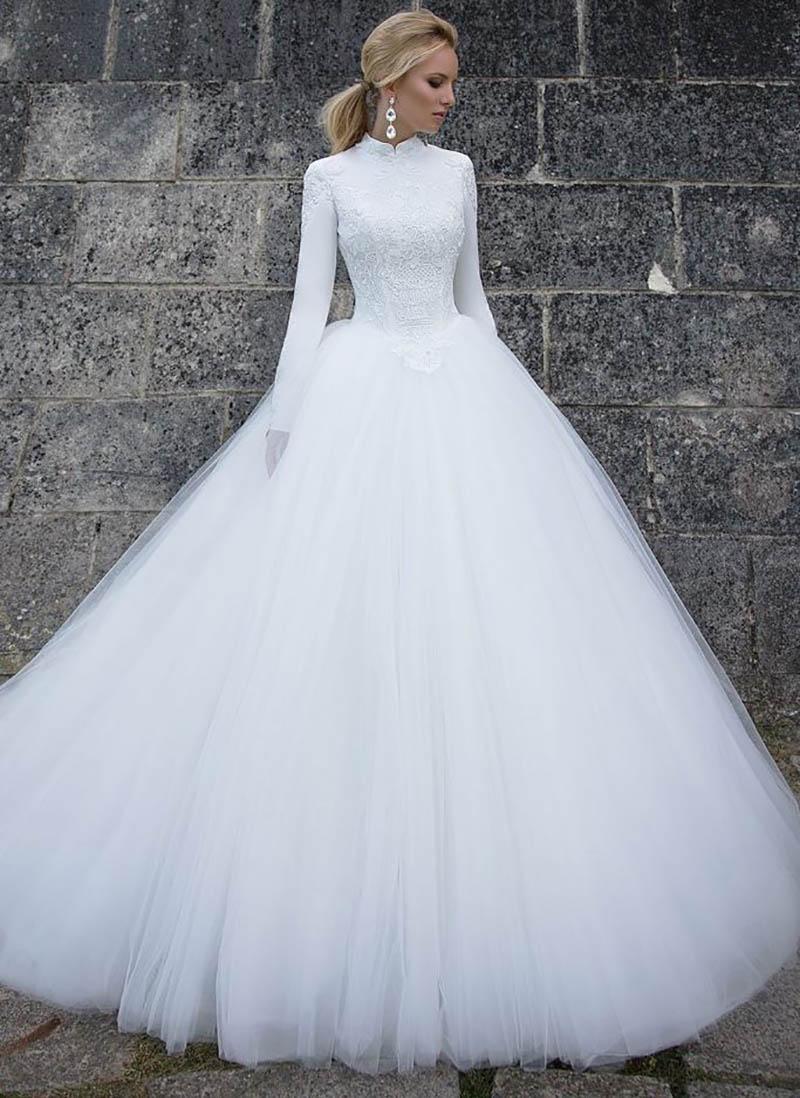 Dantel Yüksek Yaka Uzun Kollu A-Line Gelinlik Modest Tül Gelinlik 2020 Resmi Yumuşak Robe De Evlilik