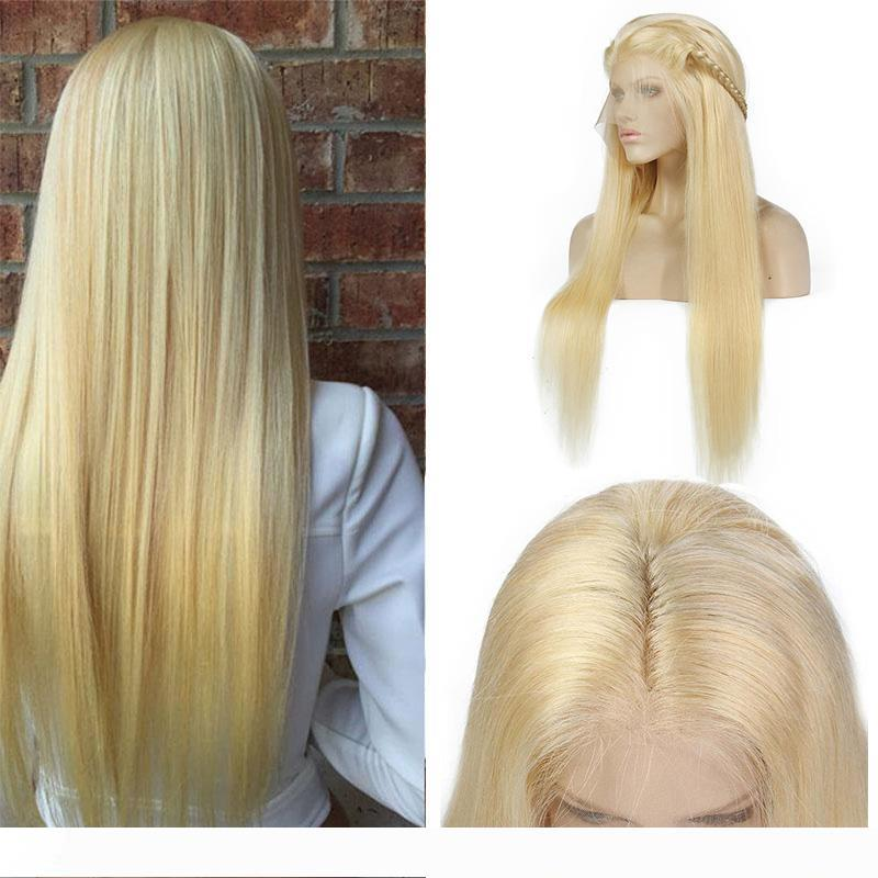 Pre Plucked Malaysian Honey Blonde Human Hair Lace Front Wigs Color 613# Straight Full Lace Human Hair Wigs For Black Women