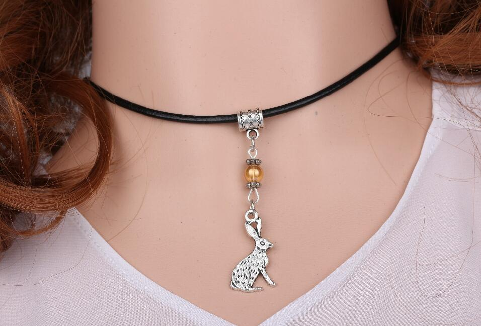 Hot Sale Clever Cute Rabbit Bunny Leather Necklace Pendant Glass Bead Charms Vintage Silver Choker Collar Statement For Women Jewelry DIY